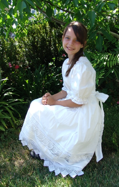 Anna Celinda, Baptism Dress with lace edging.