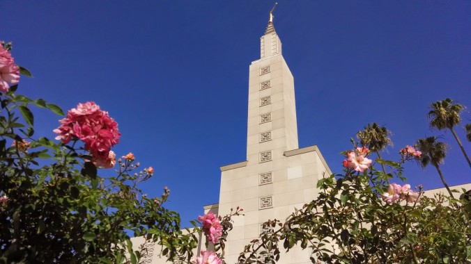 The Los Angeles Temple from the rose garden.