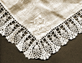 Lacy Edged Temple Handkerchief